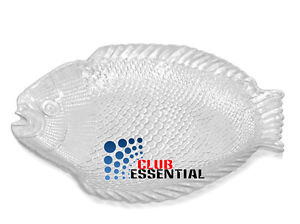 Elegant Marine Crystal Fish Shaped Platter Dinner Plates/Serving Platters