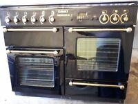 RANGEMASTER 1100 FULL GAS RANGE IN BLACK. TOTALLY IMMACULATE.CABLED AND PIPED,FREE LOCAL DELIVERY