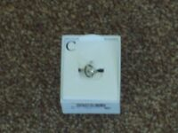 BNIB NEXT PRETTY SILVER C INITIAL RING ADJUSTABLE