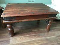 Rustic looking wooden coffee table and 2 matching lamp tables