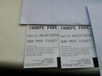 Thorpe park tickets x 2 Tuesday 26 july