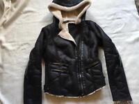 Zara trafaluc ladies over coat black hoody zipper size 8 used few times £7