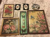 Shabby chic rose bird embroidered picture bundle