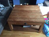 Rustic Recycled Teak Coffee Table with Drawer and Shelf - Square