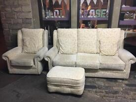 Harvey's Cream 3 Seater Sofa + Armchair + Pouffe - CAN DELIVER