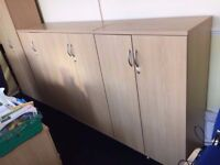 4 X WOODEN HIGH QUALITY STORAGE CUPBOARDS CABINETS WITH KEYS AND SHELVES