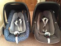 2 X maxi cosi pebble plus newborn car seats