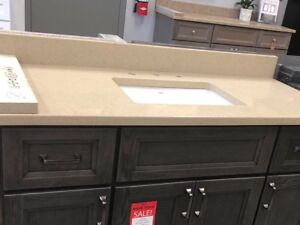 Quartz Sahara beige counter top with undermount sink