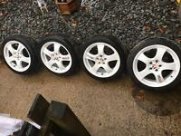 "17"" 5x100 alloy wheels with tyres"