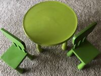 Ikea green Mammut table and two chairs £20