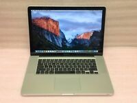 Macbook Pro 15 inch Apple mac laptop with SSD hard drive on latest EL Capitain 10.11 OS