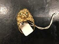 9ct gold lion head ring heavy ring