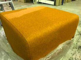 Great fabric and faux leather pouffe
