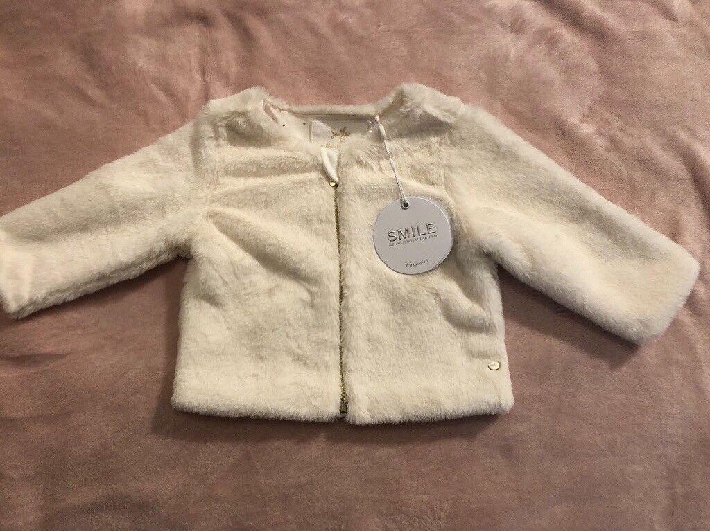 63b61b7ed Julien Macdonald Smile cream faux fur jacket 6-9mths