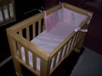 TROLL BEDSIDE CRIB IN LIGHT BIRCH WOOD WITH OR WITHOUT MATTRESS