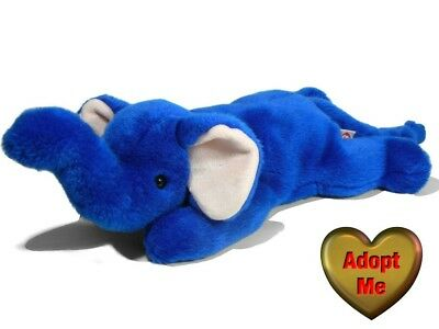 Ty Beanie Buddy Buddies Royal Blue Elephant Peanut Stuffed Plush Animal 1998