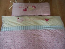 PRETTY MOTHERCARE ROSEBUD REVERSIBLE COT BED / TODDLER BED BEDDING SET ( cot beds available)
