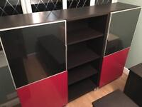 Storage/office/book unit, black/brown and red high gloss