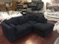 Black corner sofa in jumbo cord