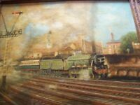 OLD OIL PAINTING ON CANVAS SIGNED -THE FLYING SCOTSMAN-