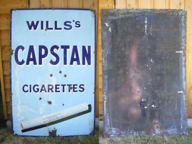 Vintage Wills's Capstan cigarettes enamel advertising sign 1930s