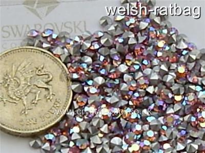 7pp Light Rose AB silver-foiled #1028 Xilion chatons 60 x Swarovski 3ss