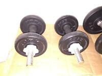Weight plates and 2 pairs of dumbells