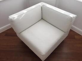 Habitat genuine leather white 1 seater sofa