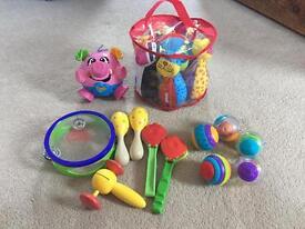Baby/Toddler Toy Bundle inc. Musical Instruments, Skittles, Sensory Balls, Jiggle Pig