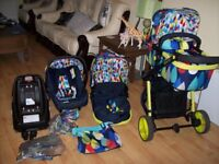 COSATTO GIGGLE 3 IN 1 TRAVEL SYSTEM IN PITTER PATTER DESIGN,CAR SEAT,BASE,CARRYCOT,CHANGING BAG +++