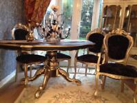 French Rococo style table and chairs