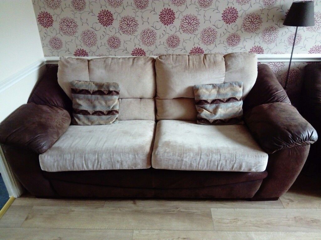 Large Brown Leather And Cream Fabric Sofa In Very Good Used Condition Free Local Delivery Available