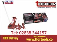 Sealey 3000CXD Trolley Jack 3 tonne Yankee Jack With 3 Ton Axle Stands 3010cx Deal