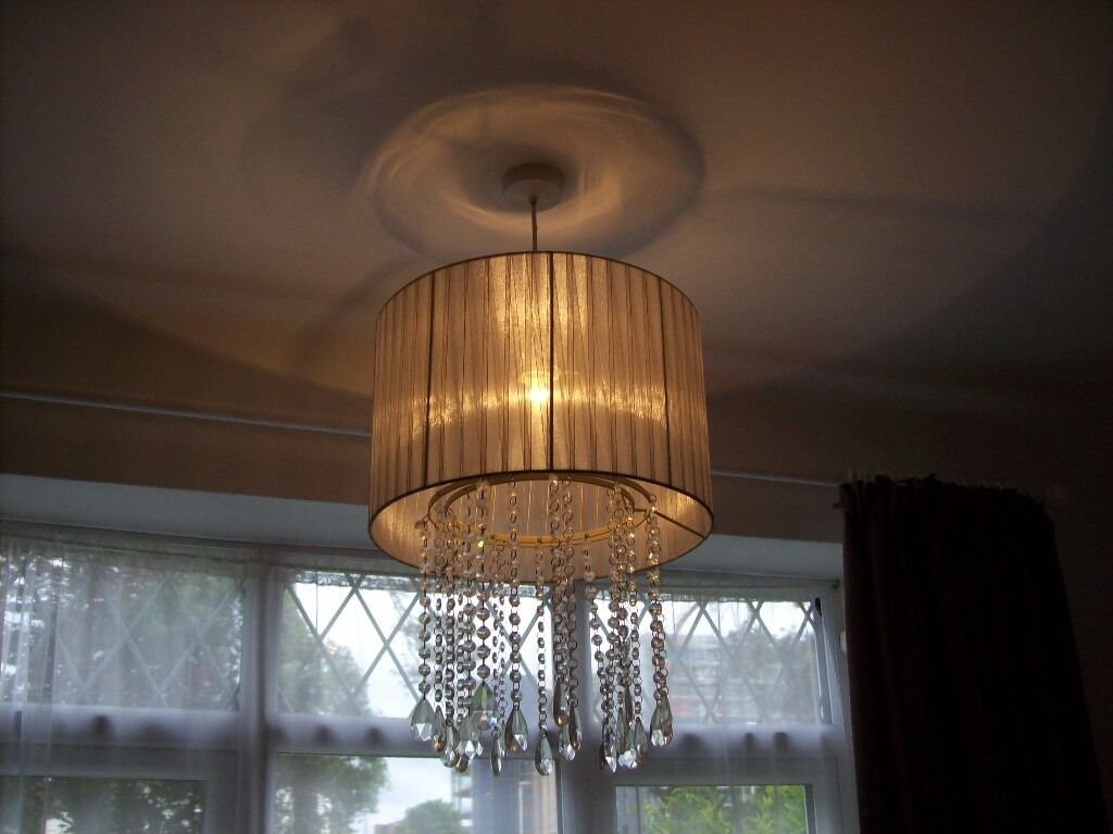 SHABBY CHIC GRAY PLEATED LAMP SHADE WITH GLASS BEADS