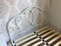 Next double bed base / frame metal in primrose white