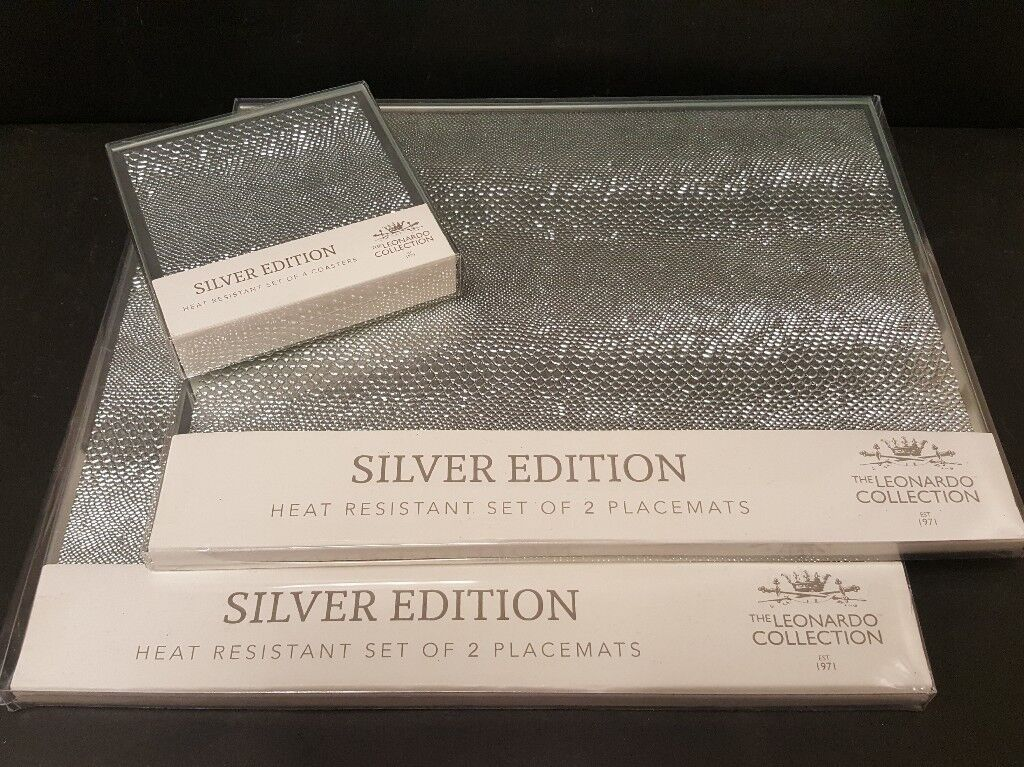 New Silver Mirrored Glass Placemats Coaster Set Snakeskin