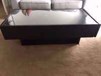 Beautiful ikea coffee table with glass top and drawers