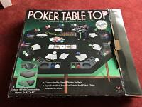Poker table top and Texas hold 'em poker set