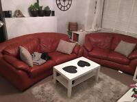 Sofas 2 + 3 real leather