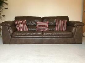 2 x Brown Leather Sofas -Pristine Condition