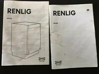 IKEA RENLIG integrated dishwasher *broken, for fix or parts*
