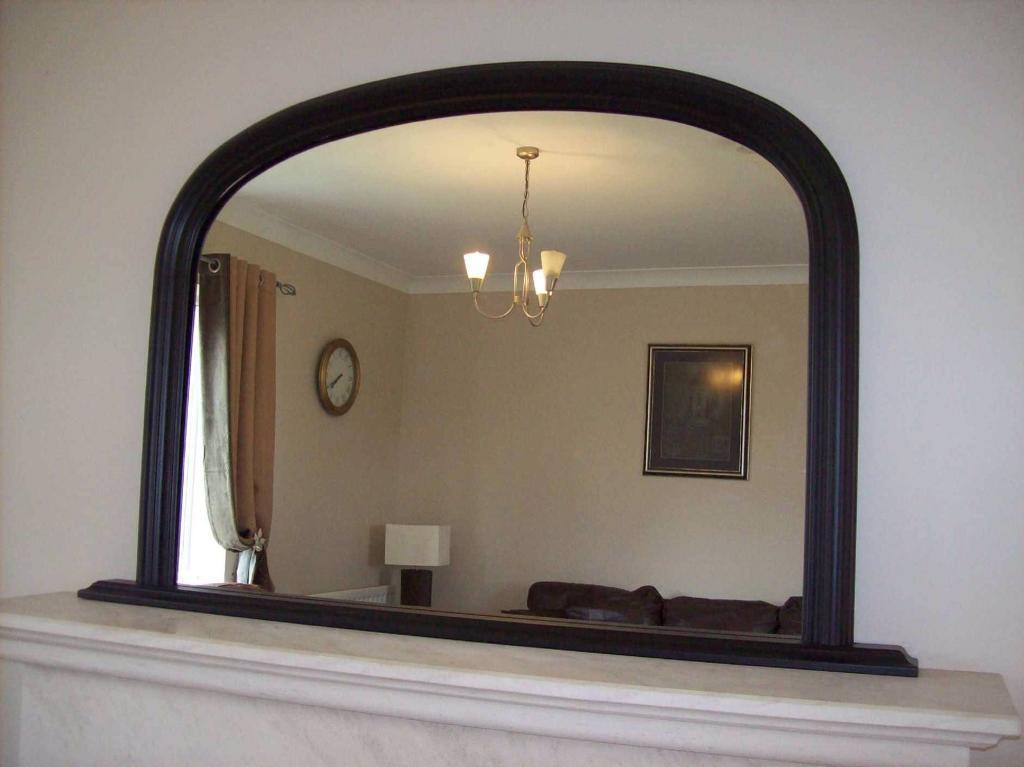 Black overmantle mirror