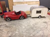 Austin j40 pedal car and Caravan