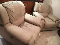 Electric Recliner Armchairs in Cream Nubuck (excellent condition) £200 ONO