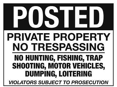 POSTED signs lot of 5 - Private Property - No Trespassing - No Hunting