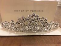 Wedding tiara silver diamanté tiara hair slide comb brand new