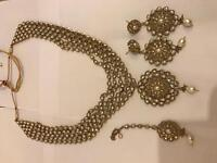 Polkie bridal Jewellery set gold clear