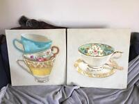 Shabby chic tea cup canvases