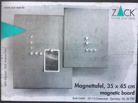 TWO (2) STAINLESS STEEL MAGNETIC NOTICE BOARDS HOME OFFICE NEW UNUSED