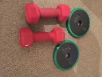 2 x 3kg dumbbells and 2 x 2.5 men's health plates